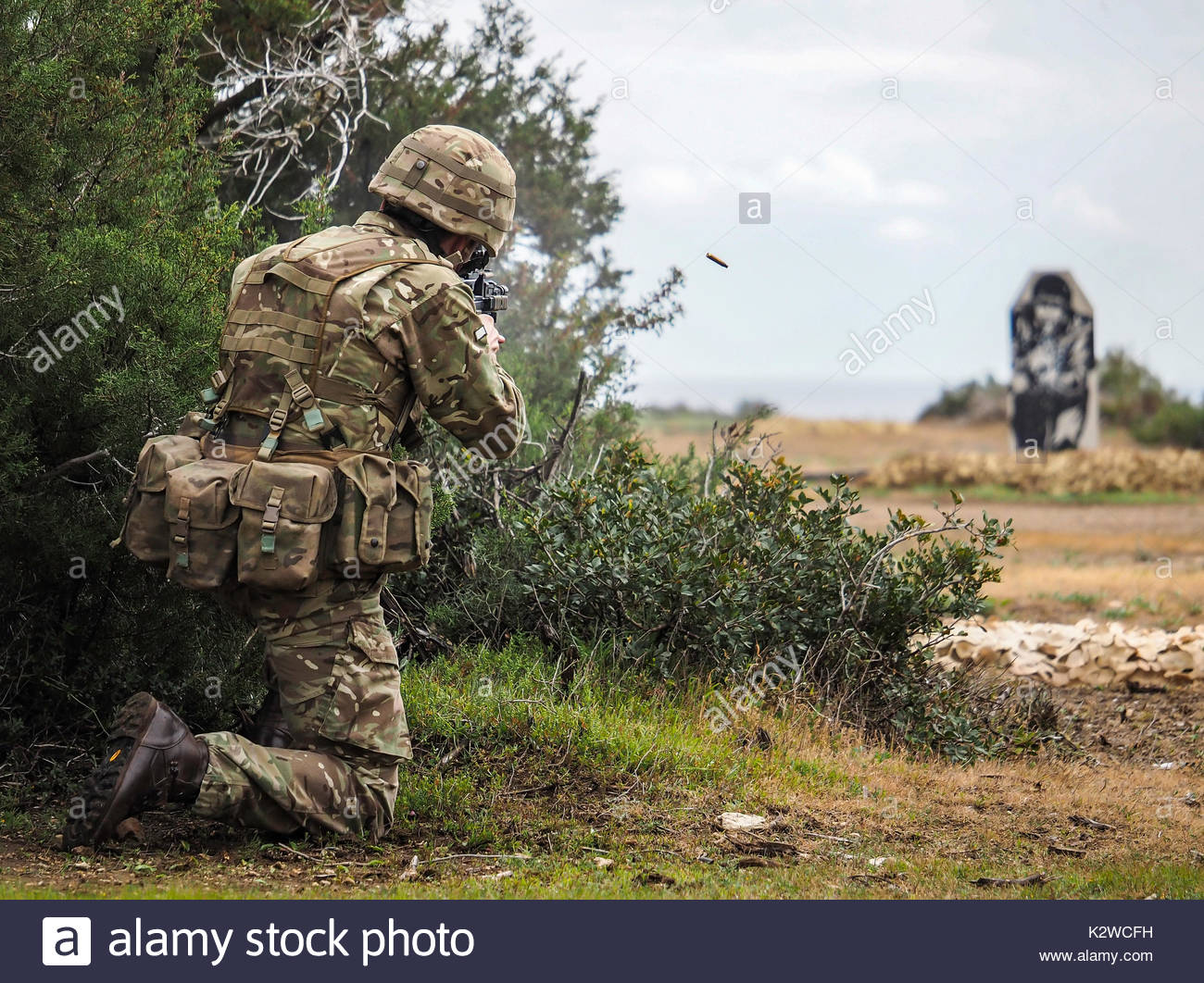British Army Soldier on a live fire range in Cyprus 2017 - Stock Image