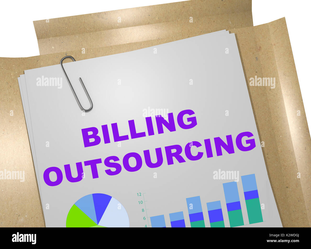 "3D illustration of ""BILLING OUTSOURCING"" title on business document Stock Photo"
