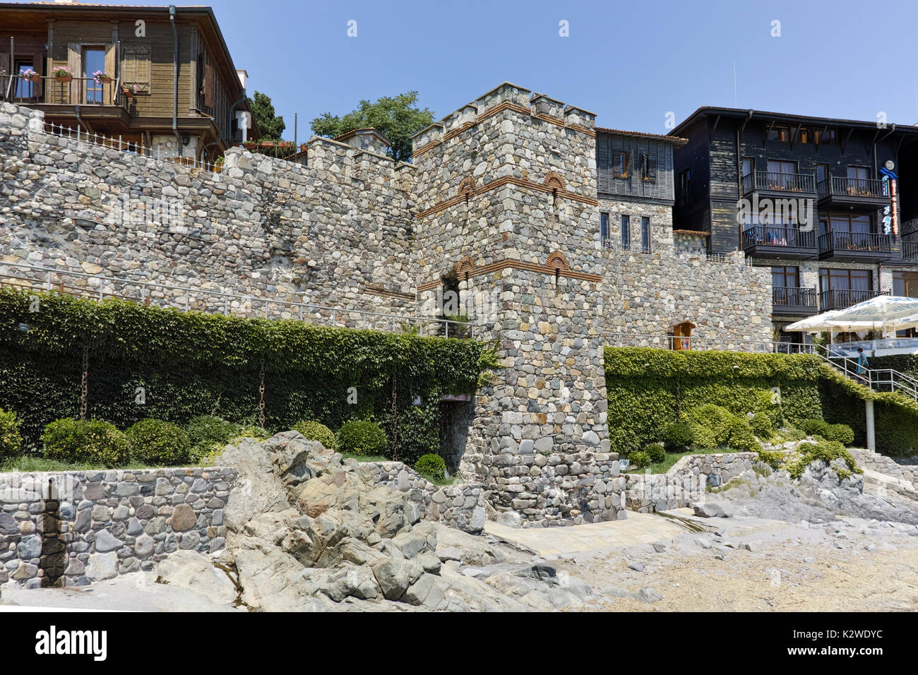 A reconstructed gate part of Sozopol ancient fortifications, Bulgaria - Stock Image