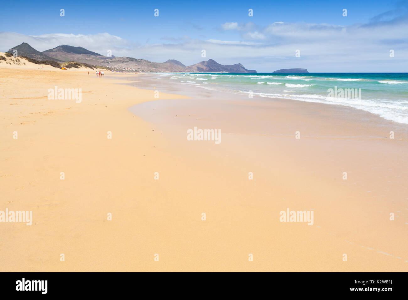 Sandy wide beach landscape of the island of Porto Santo in the Madeira archipelago, Portugal - Stock Image