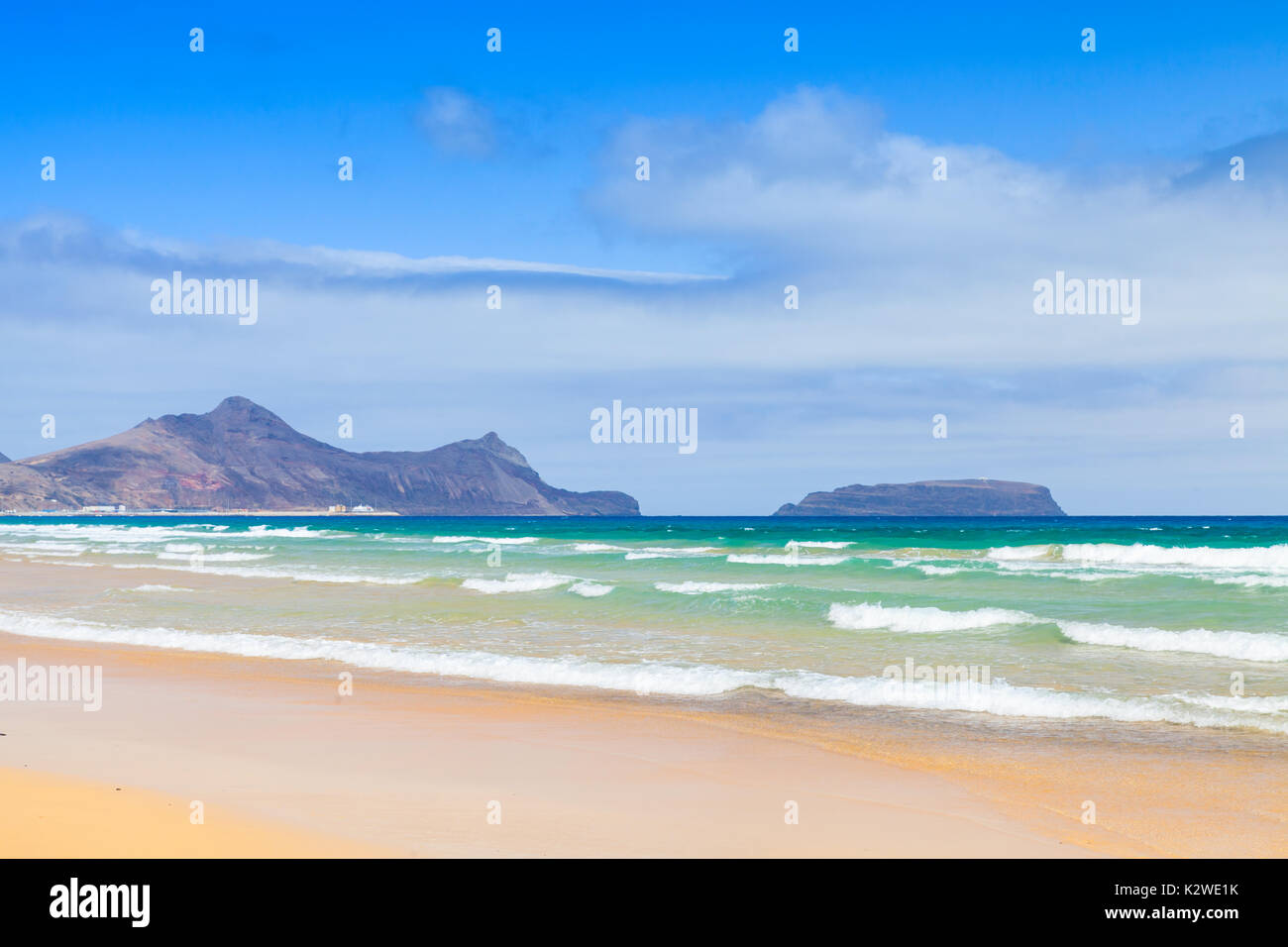 Sandy beach landscape of the island of Porto Santo in the Madeira archipelago, Portugal - Stock Image