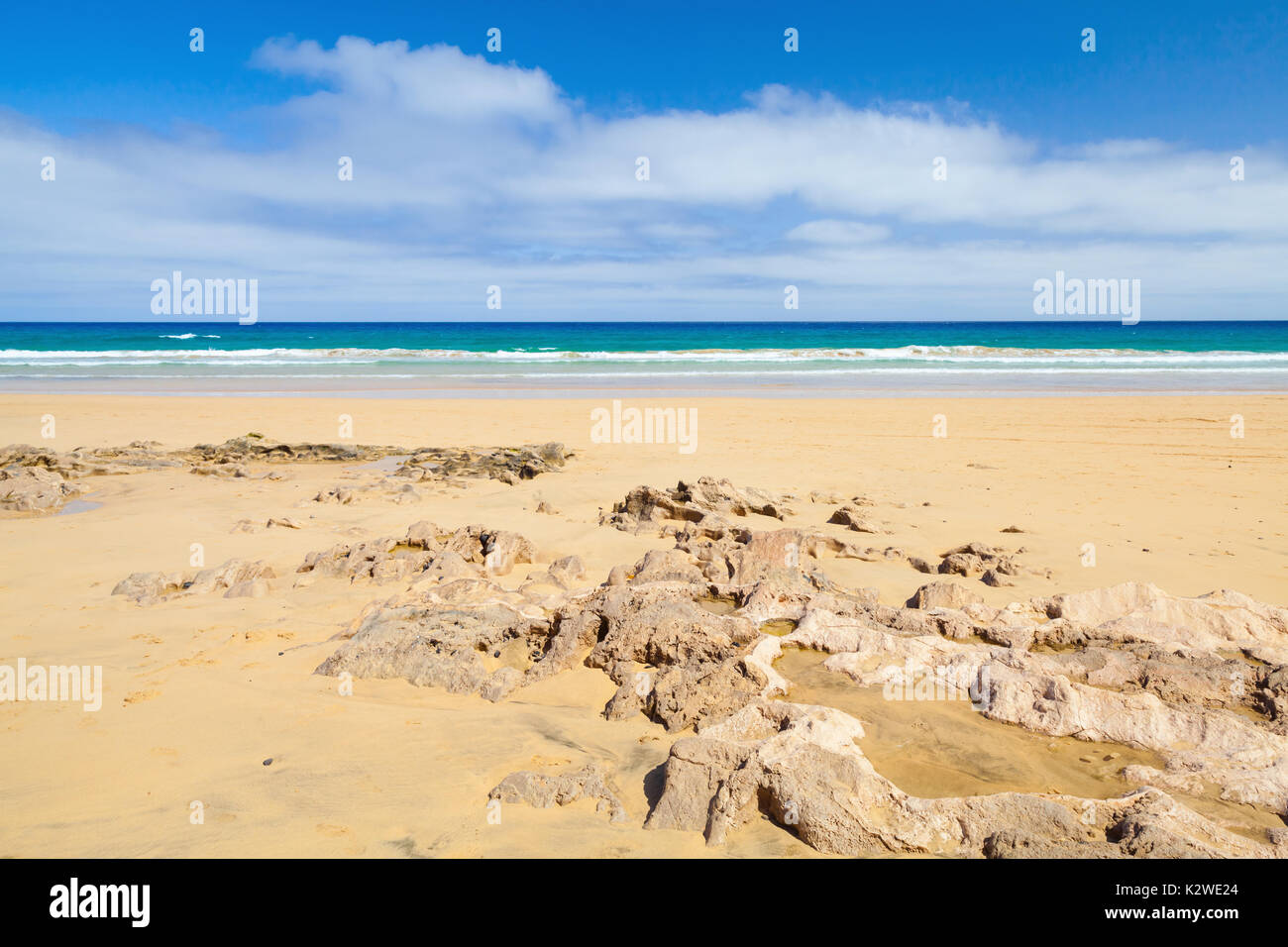 Sandstone rocks on the beach of Porto Santo, island in the Madeira archipelago - Stock Image