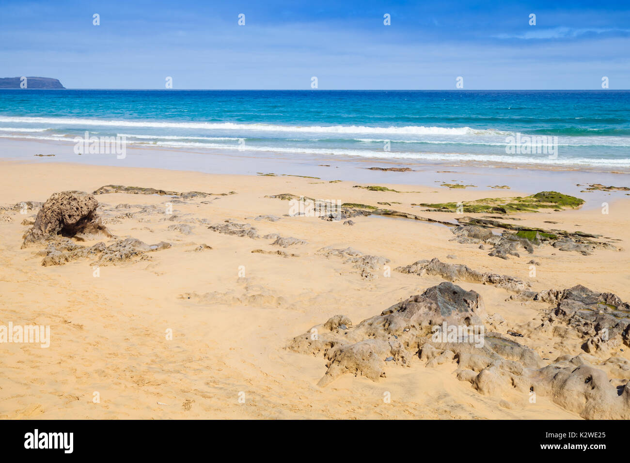 Coastal stones on the beach of Porto Santo, island in the Madeira archipelago - Stock Image