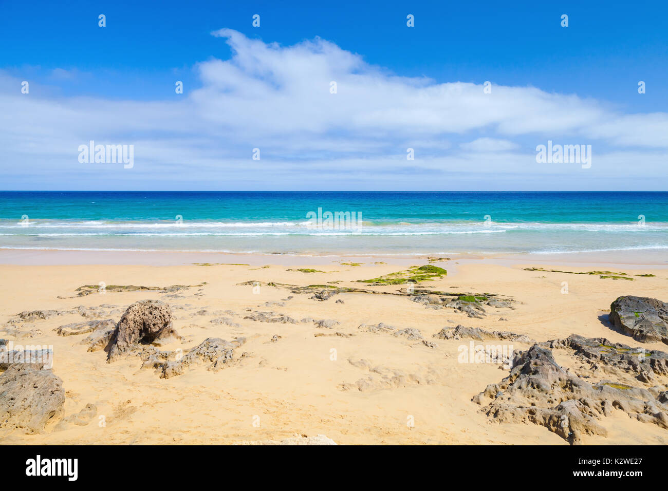 Coastal rocks on the beach of Porto Santo, island in the Madeira archipelago - Stock Image