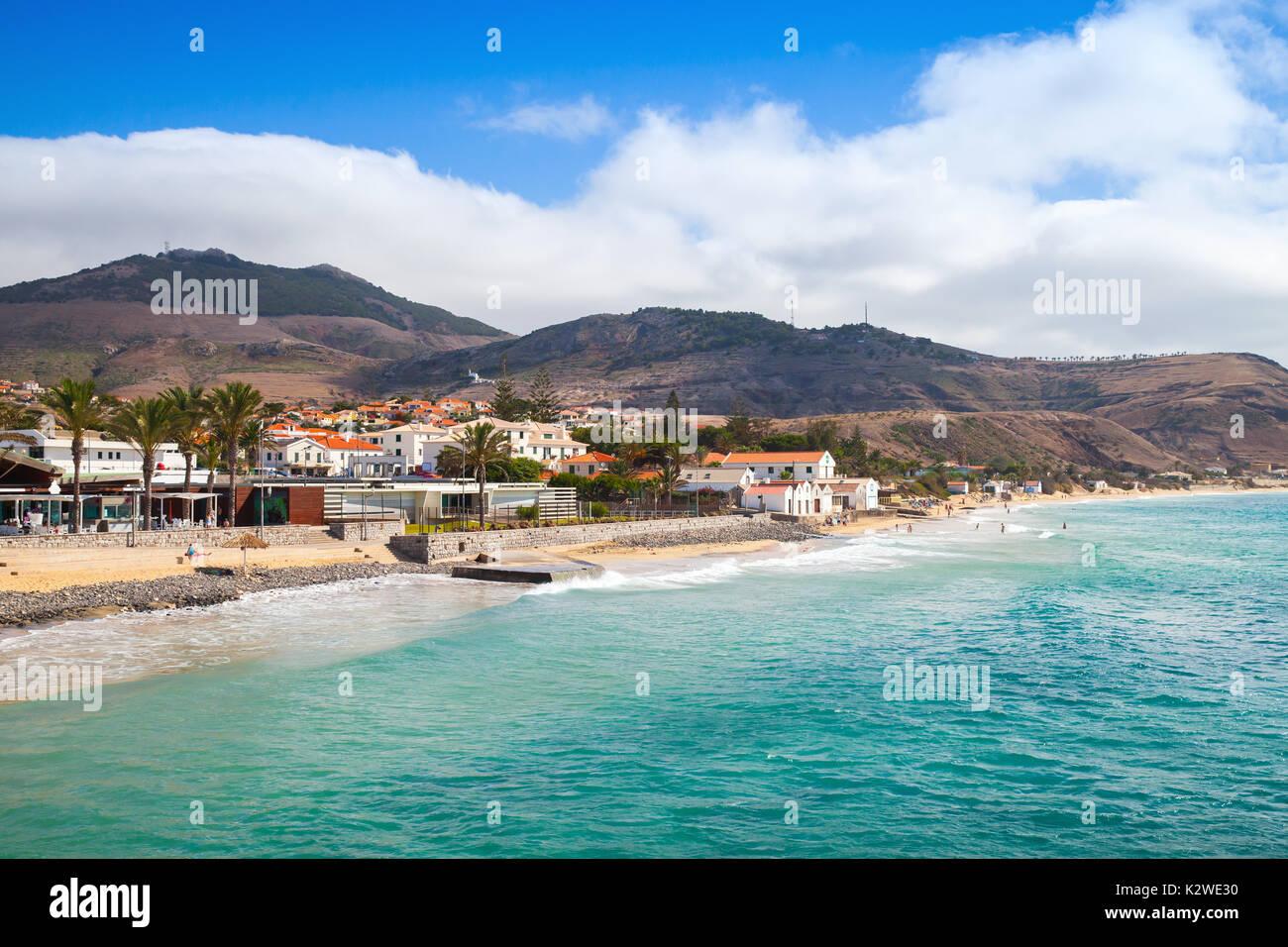 Vila Baleira coast. Landscape of the island of Porto Santo in the Madeira archipelago - Stock Image
