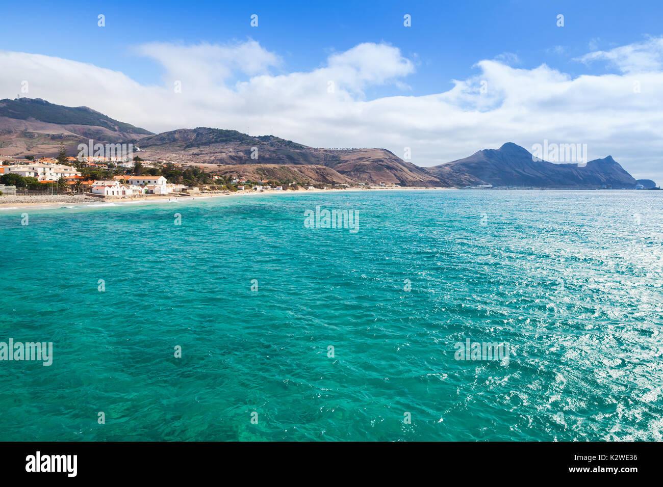 Vila Baleira bay. Coastal landscape of the island of Porto Santo in the Madeira archipelago - Stock Image