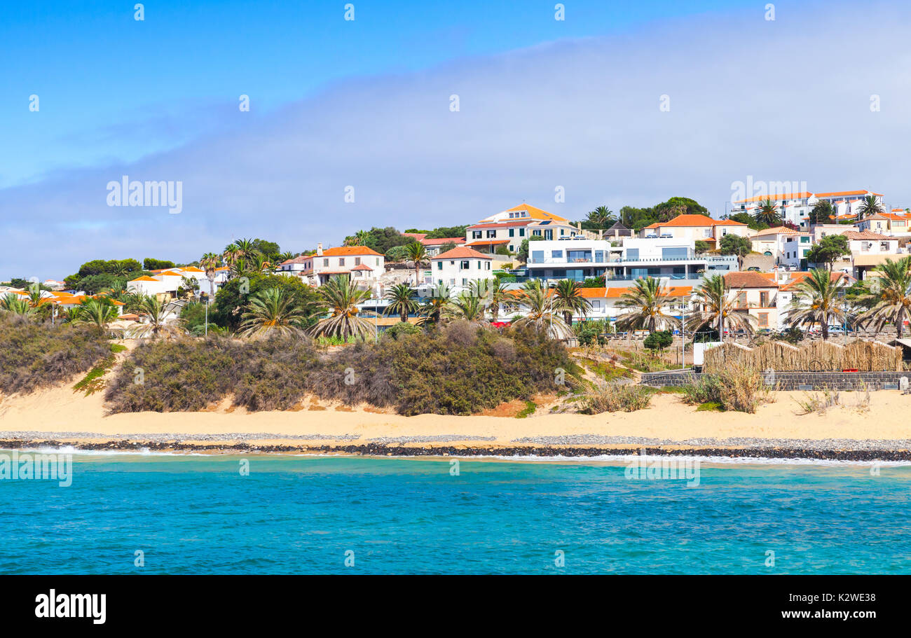 Vila Baleira town. Coastal landscape of the island of Porto Santo in the Madeira archipelago - Stock Image