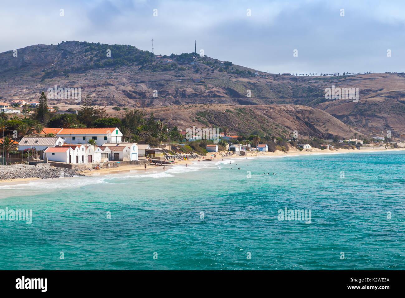 Vila Baleira. Coastal landscape of the island of Porto Santo in the Madeira archipelago - Stock Image