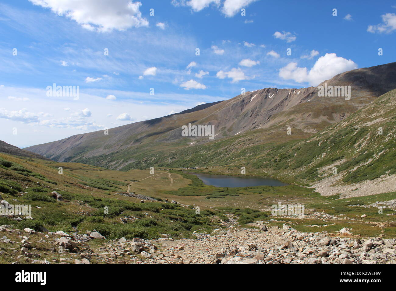 Kite Lake as seen from the east slope trail of Mt. Democrat in the Mosquito Range of the Rocky Mountains, near the towns of Alma and Fairplay, CO - Stock Image