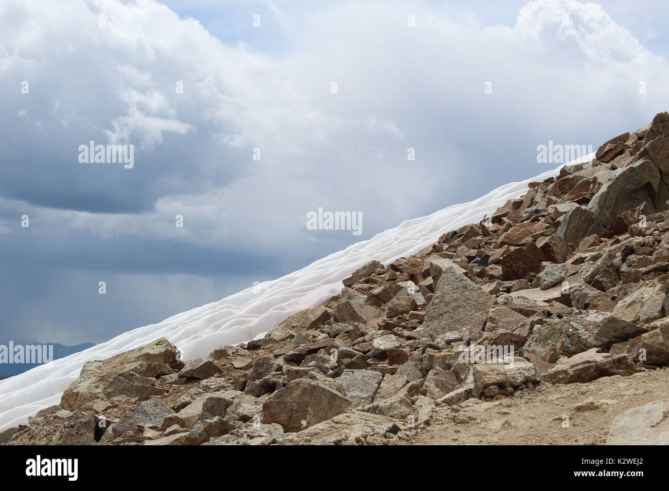 Snow near the summit of Mt. Democrat in the Mosquito Range of the Rocky Mountains, near Alma and FairPlay, Colorado. - Stock Image
