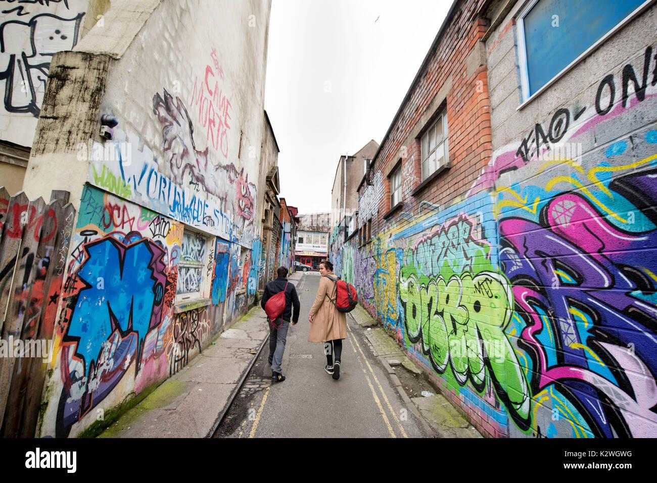 Graffiti in Hepburn Rd in Stokes Croft, Bristol UK - Stock Image