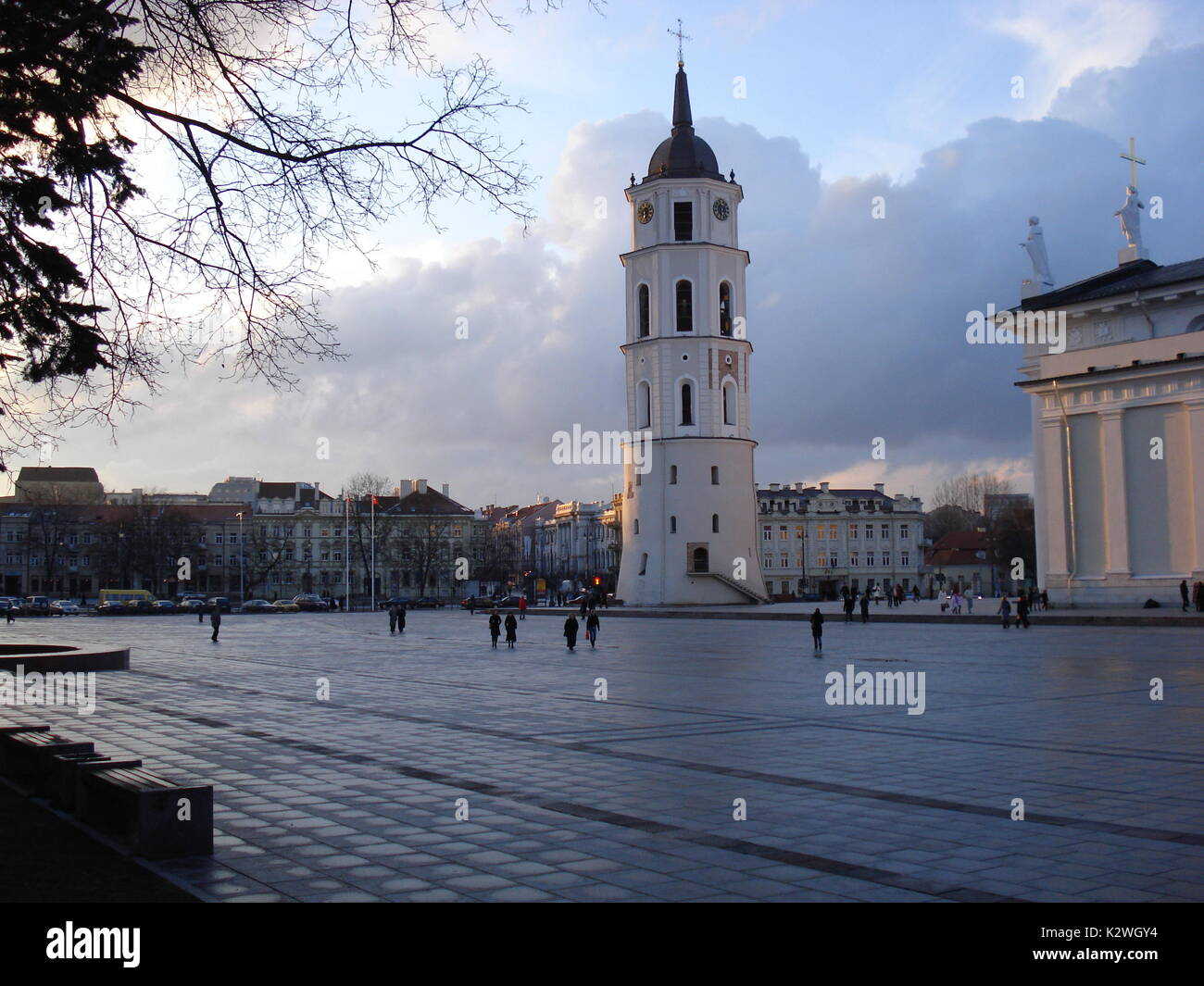 Main square and tower in center of Vilnius city, capital of Lithania - Stock Image
