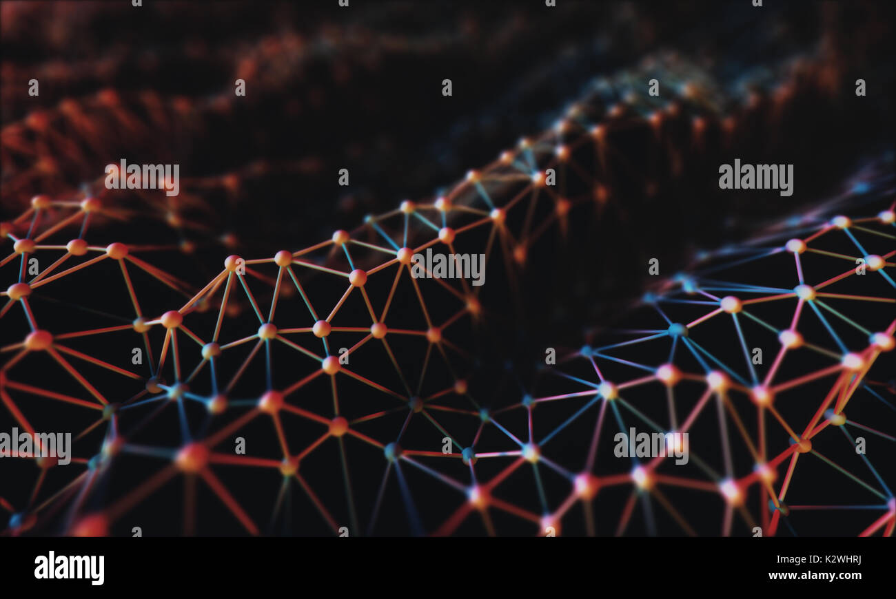 3D illustration. Mesh interconnected by tubes and spheres in the form of organic fabric. - Stock Image