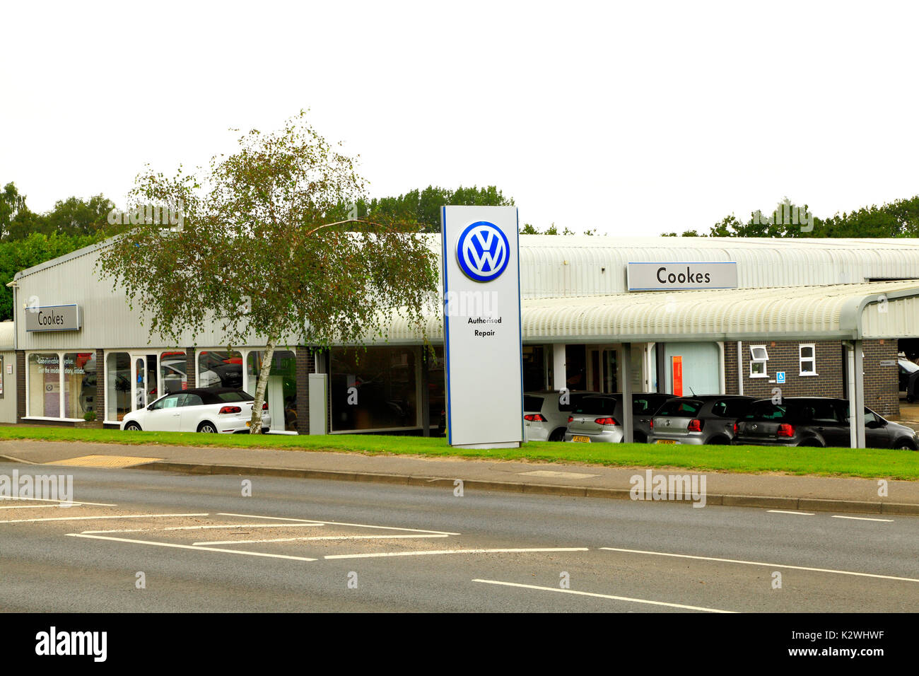 Cookes of Fakenham, VW, Volkswagen Main Dealer, dealers, dealership, Norfolk, England, UK, motor car, cars - Stock Image