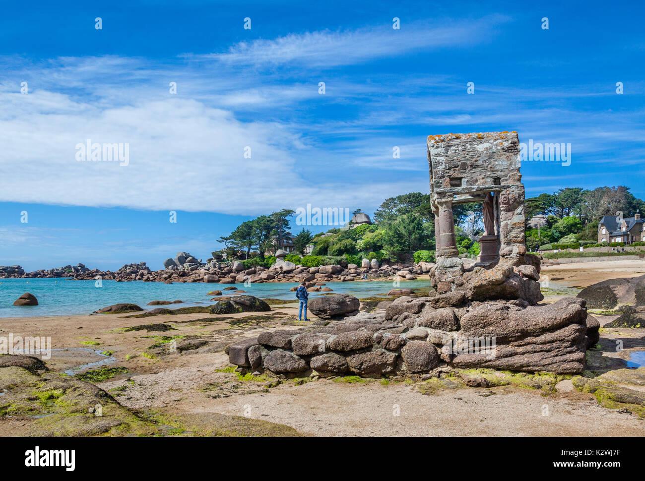 France, Brittany, Cotes d'Armor department, Cote de Granit Rose (Pink granite coast), Perros-Guirec, the Oratory Stock Photo