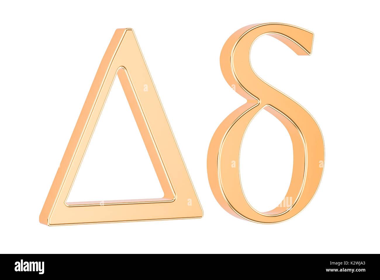 Golden Greek letter Delta, 3D rendering isolated on white