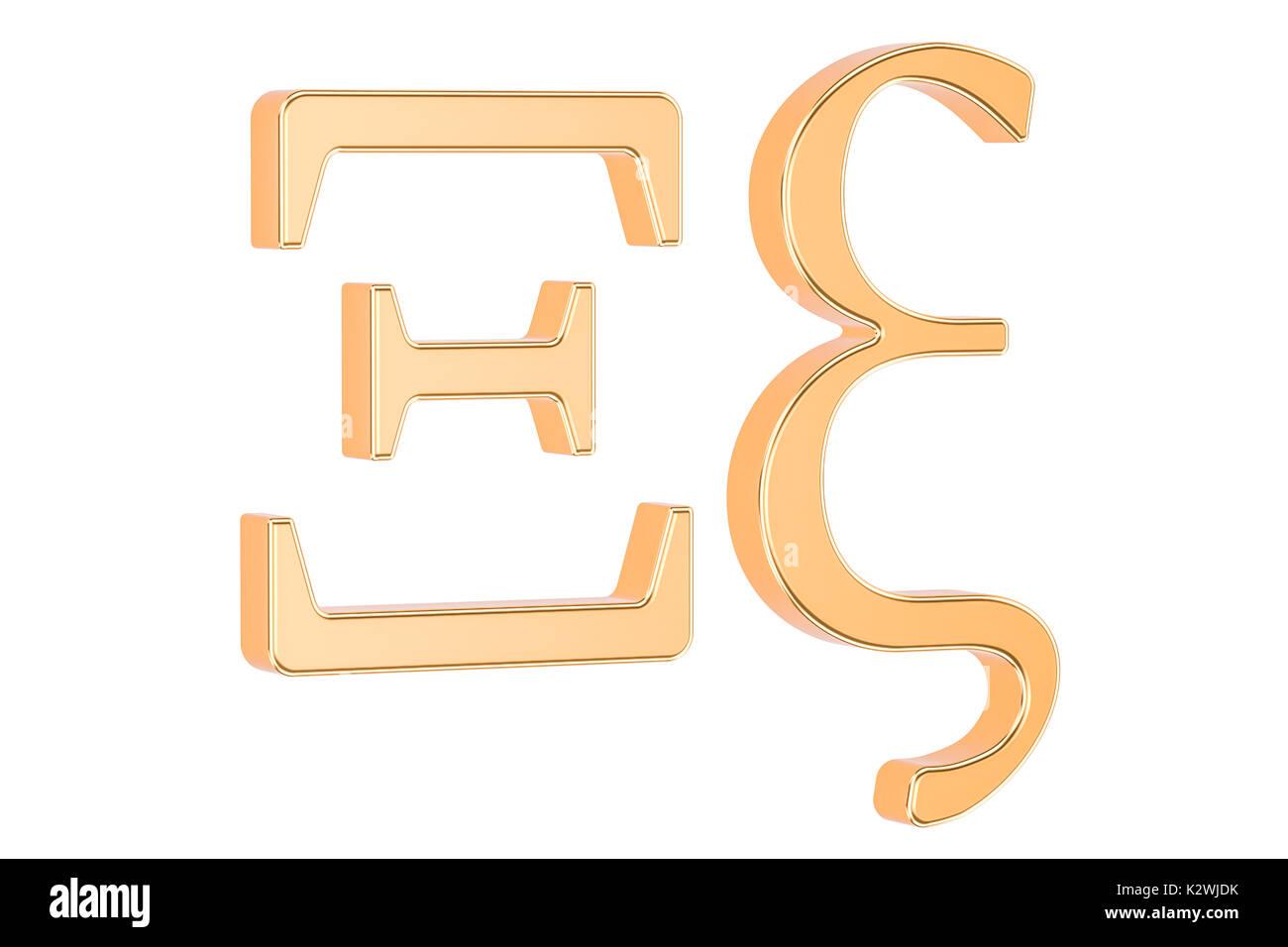 golden greek letter xi 3d rendering isolated on white background