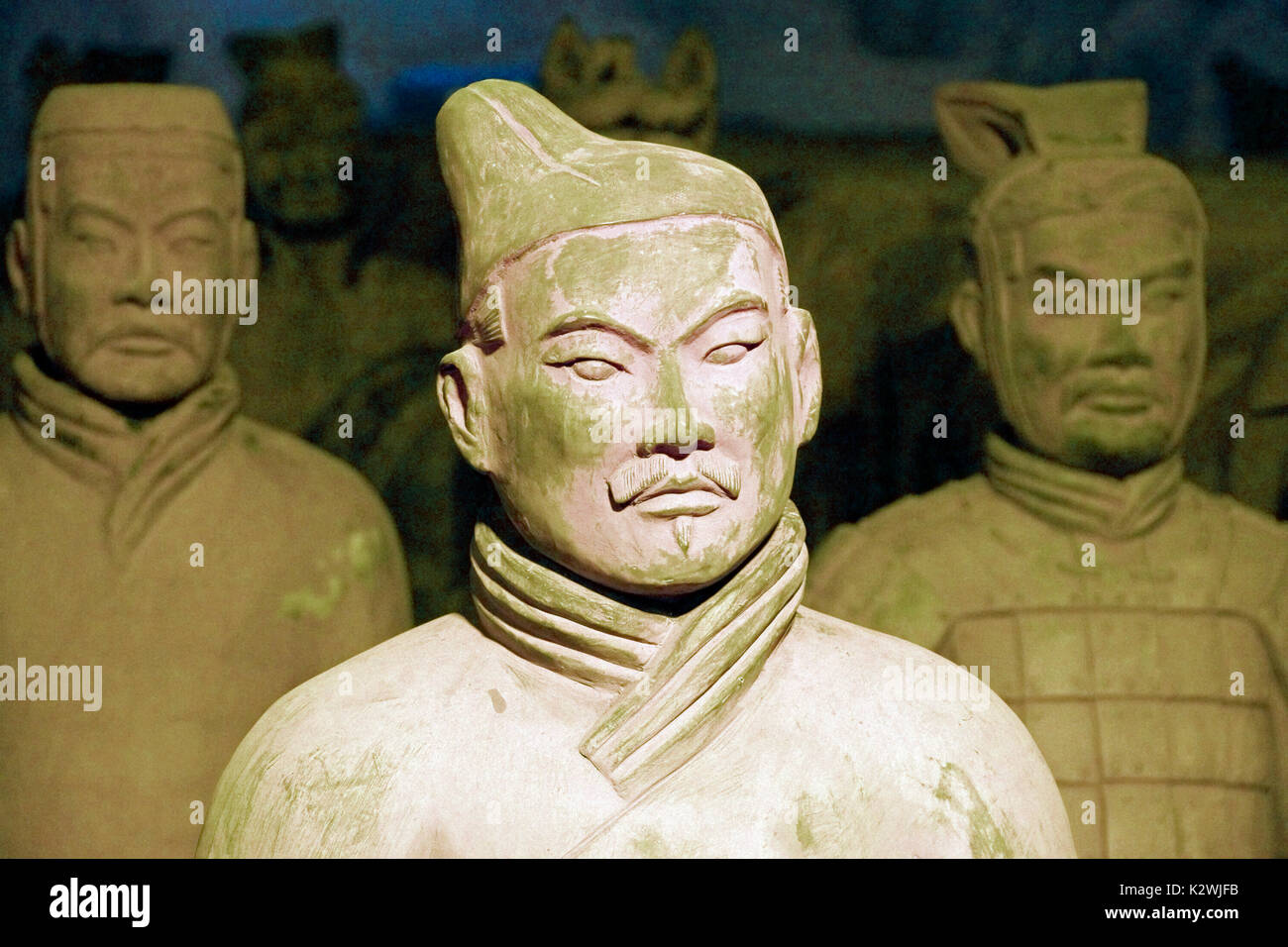 Close-ups of the famous Terra Cotta Army during a travelling  exposition in Palma de Mallorca. Stock Photo