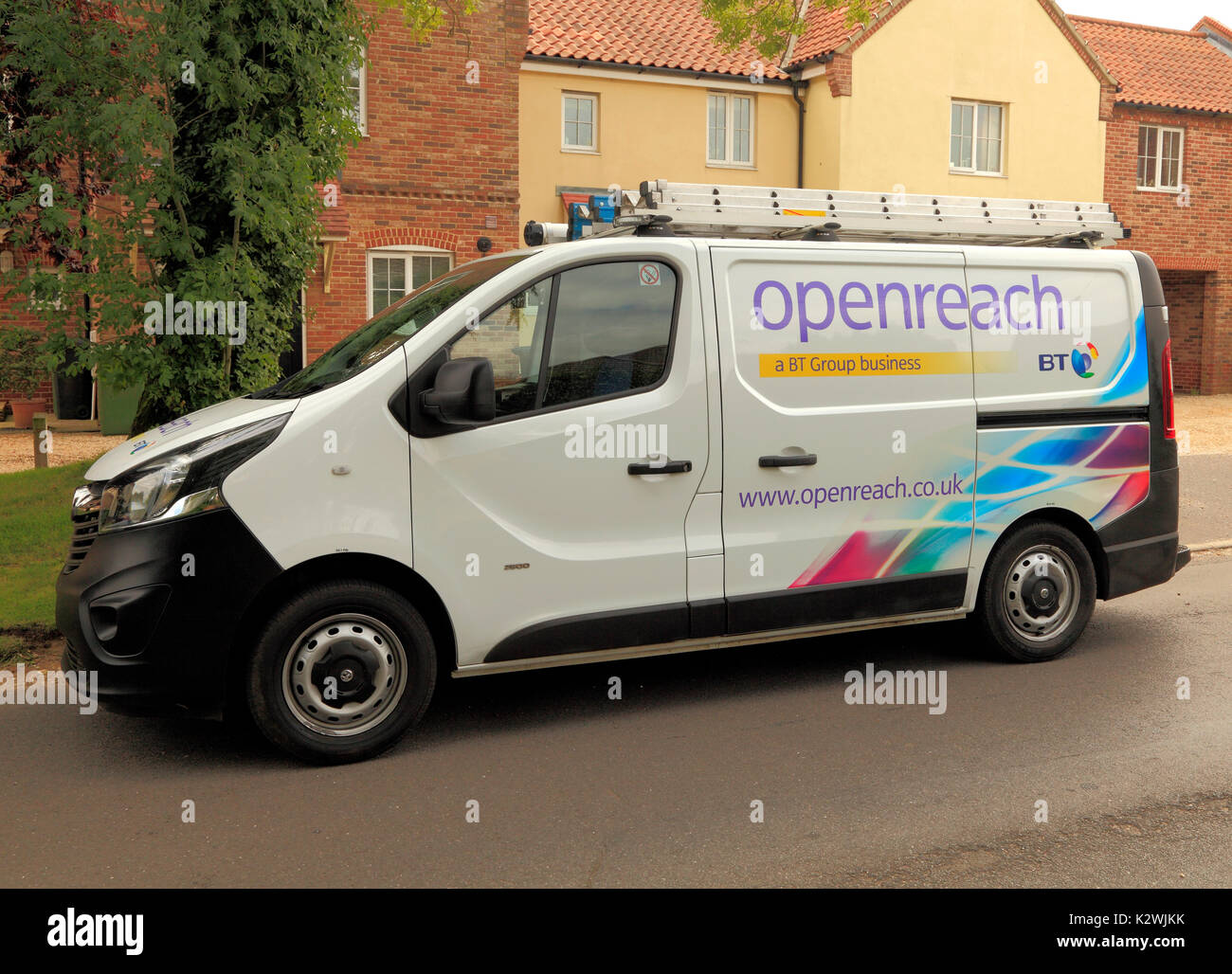 Openreach, Open Reach, BT, British Telecom, van, service, repair, vehicle, vehicles, vans, repairs, maintenance, - Stock Image