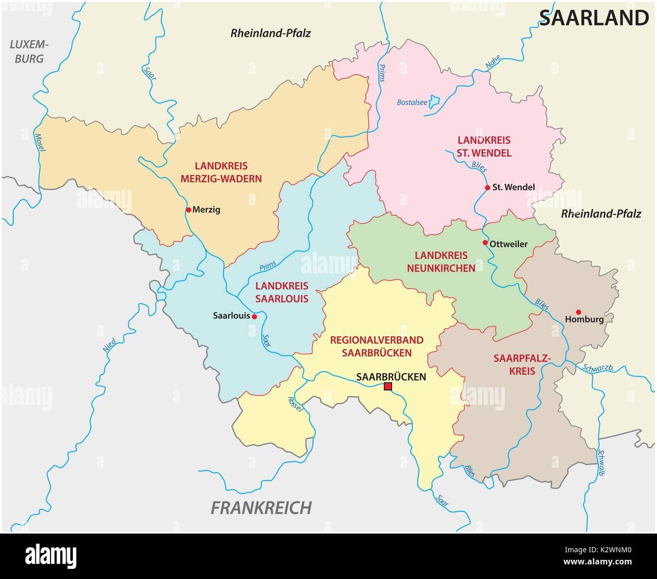Saarland Germany Europe Map Stock Photos Saarland Germany Europe