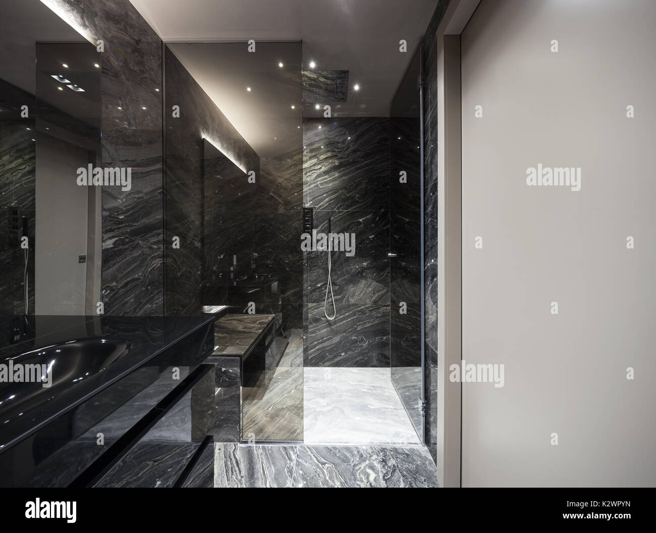 Interior Of Modern Bathroom With Black Marble Stock Photo Alamy