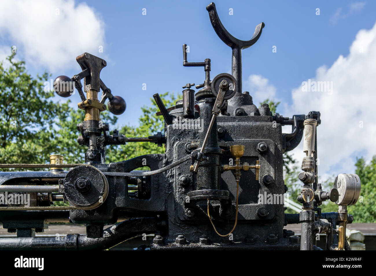 Detail of old vintage steam machinery with valves, pipes and Stock ...
