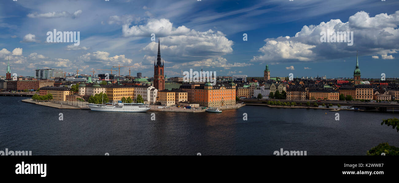 Stockholm. Panoramic image of Stockholm, Sweden during sunny day. - Stock Image