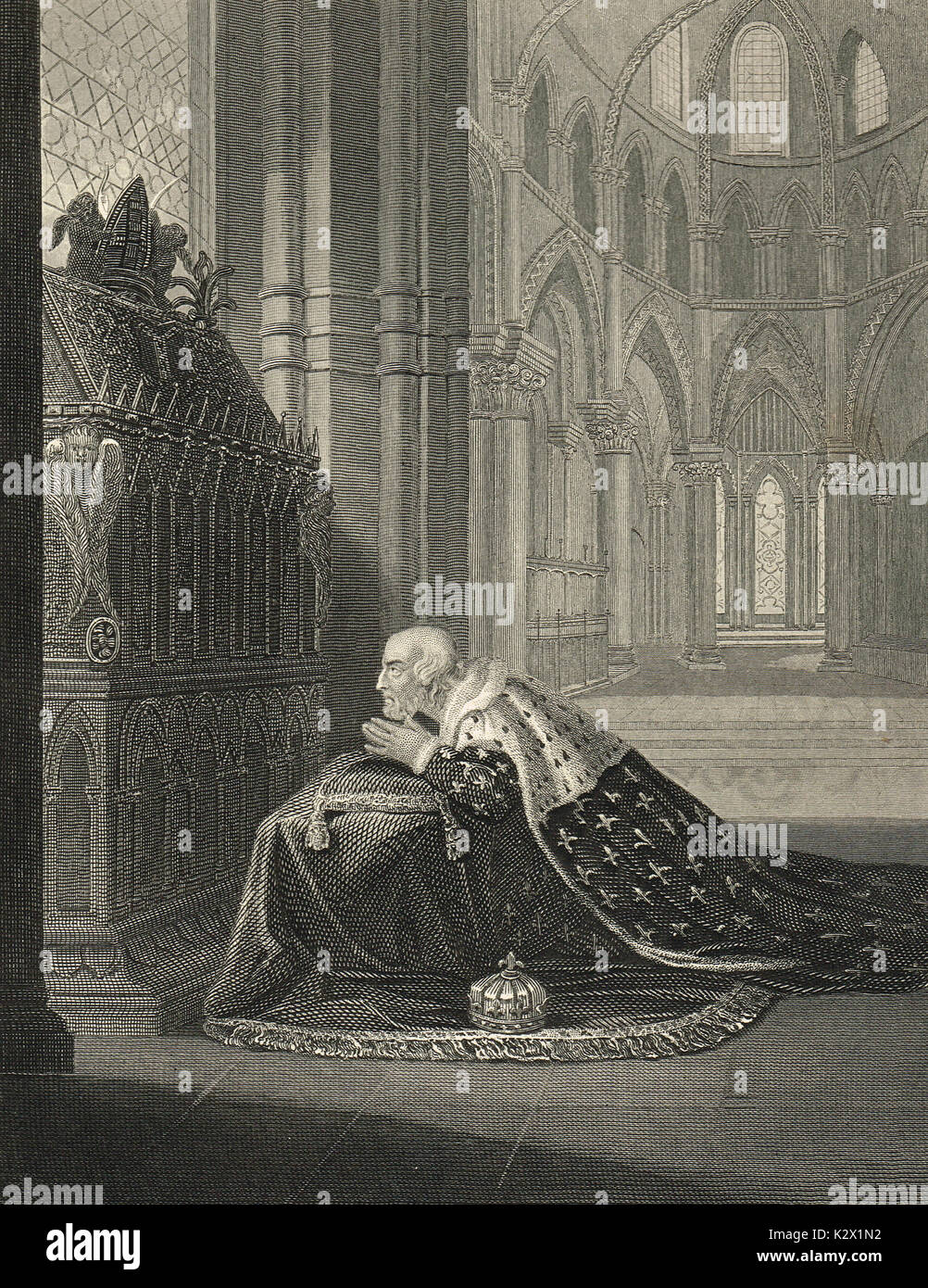 Louis VII, King of France before Becket's Tomb. Stock Photo