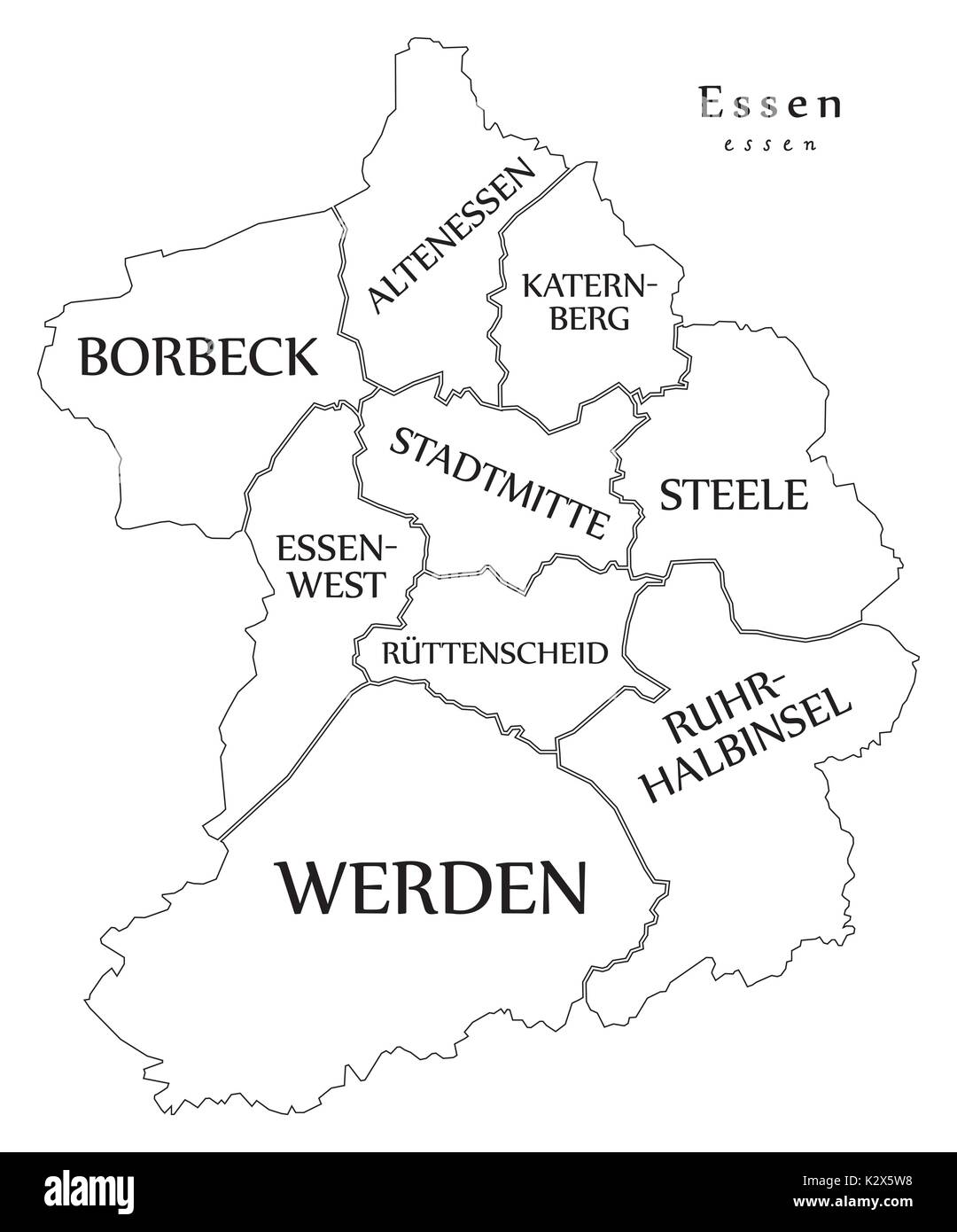 Modern City Map Essen city of Germany with boroughs and titles DE