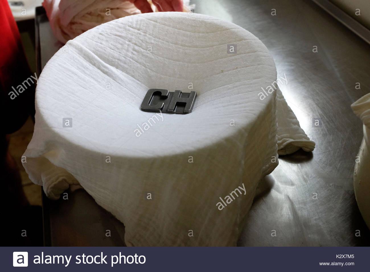 France, Nouvelle-Aquitaine, Pyrenees Atlantiques, Fichous Riumayou, la marque du fromager est placee avant de poser le fromage, ici les initiales de CASASSUS HENRI. *** The cheese brand is placed before placing the cheese, here the initials of CASASSUS HENRI, France, Nouvelle-Aquitaine, Pyrenees Atlantiques, Fichous Riumayou - Stock Image