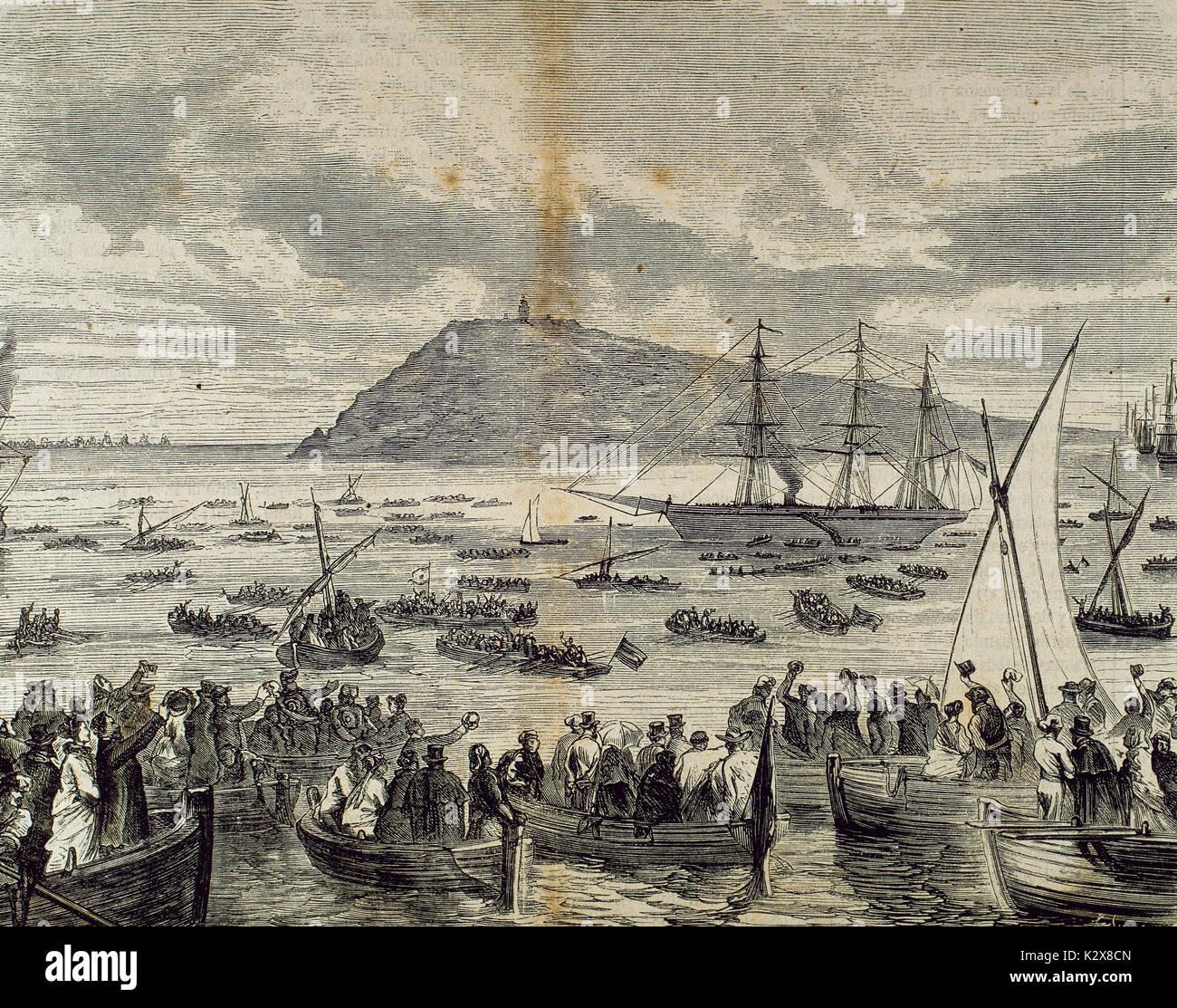 Spain. Catalonia. Barcelona. Catalan volunteers embark to Cuba. Engraved by Moracho y Sadurni. 'La Ilustracion Espanola y Americana', Desember 25, 1869. - Stock Image