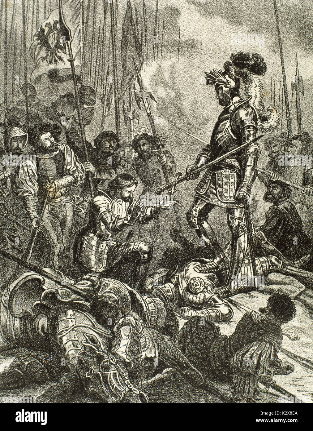 The battle of Pavia. Held on February 24, 1525 between the French army under King Francis I (1494-1547) and German-Spanish troops of Emperor Charles V (1500-1558), who won the battle. Francis I of France made prisoner after his defeat. Engraving. - Stock Image