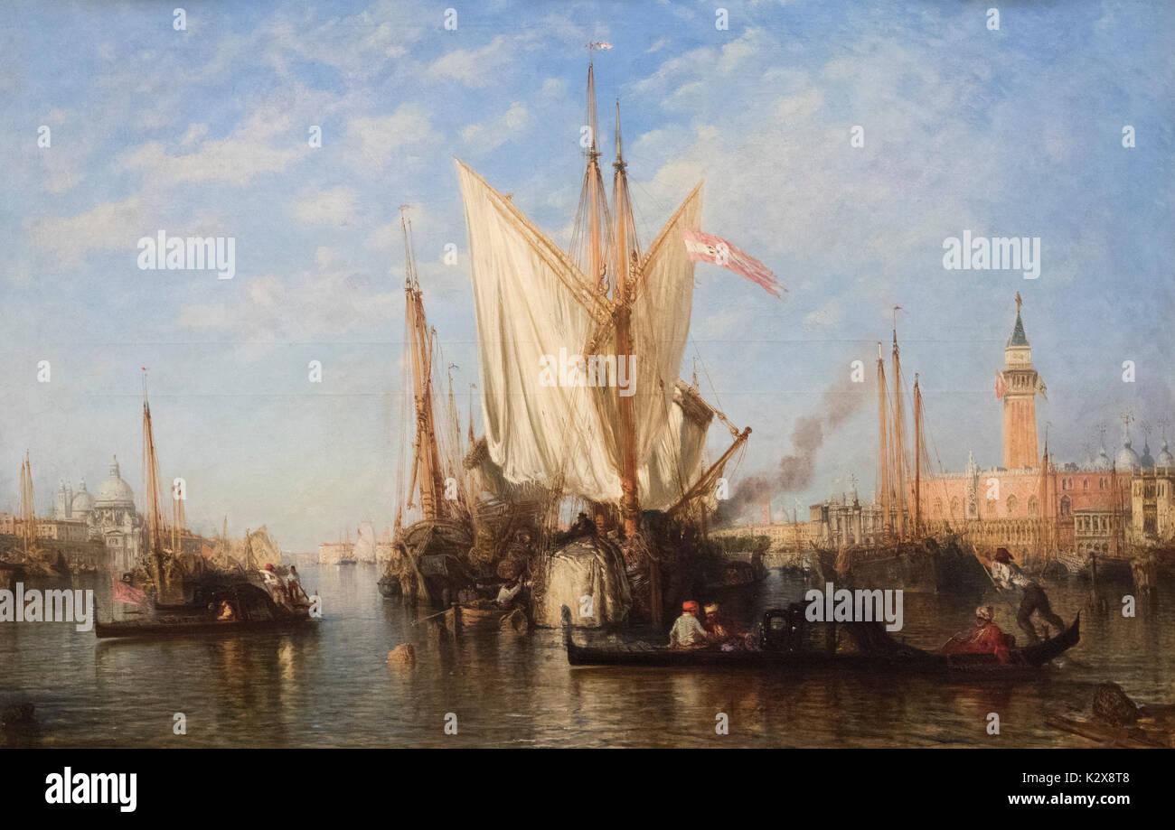 Félix Ziem (1821 - 1911), Venice, the Bacino di San Marco with Fishing Boats, ca. 1865. - Stock Image