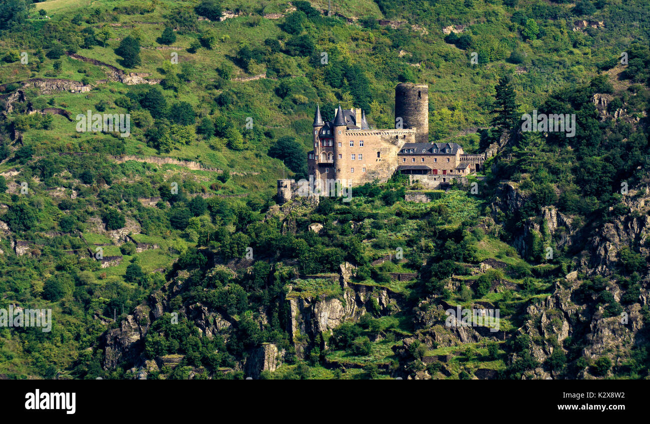 View from Loreley. Famous viewpoint high above the Rhine river. Stock Photo