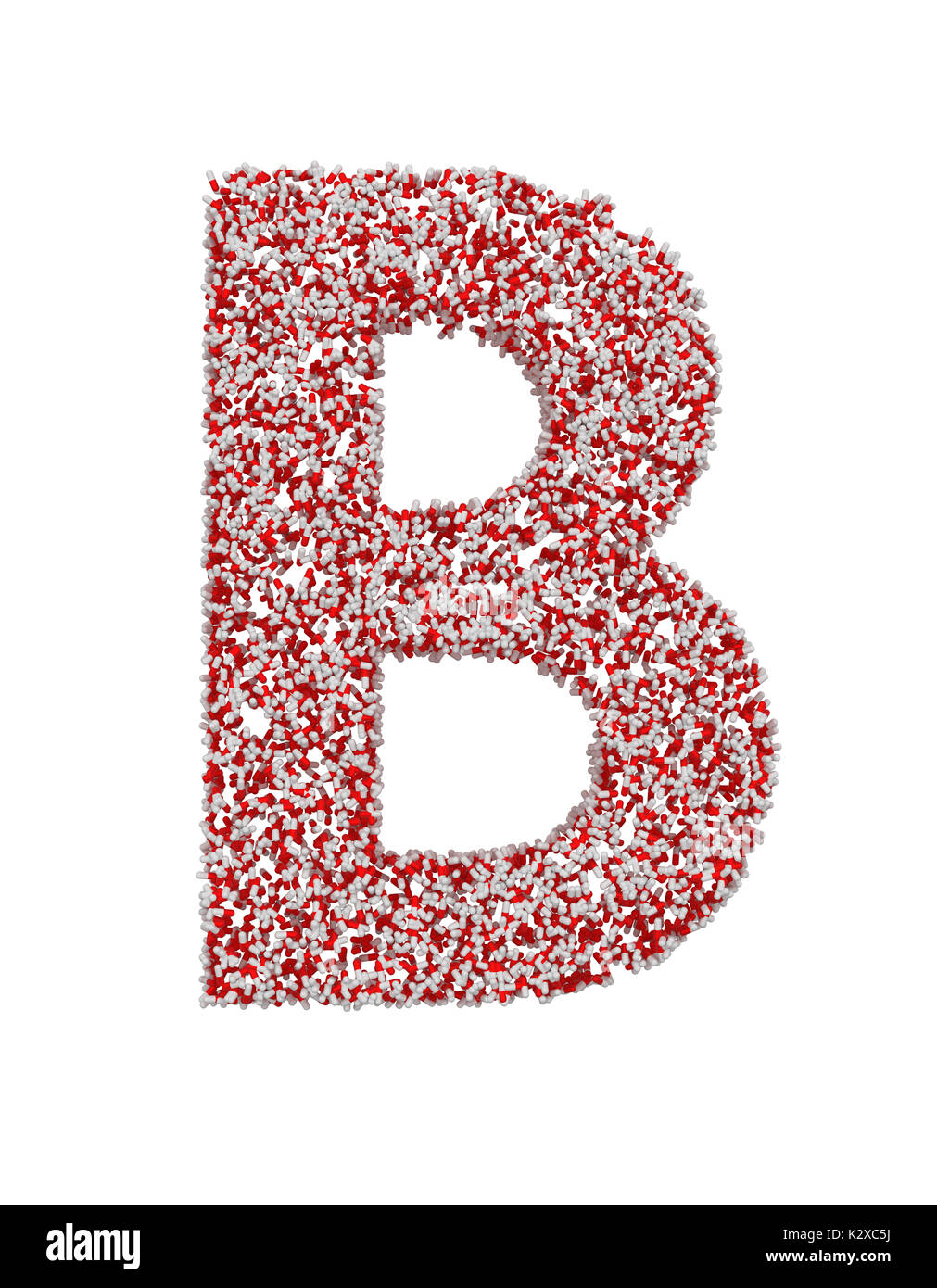 3D render of red and white alphabet make from pills. Big letter B