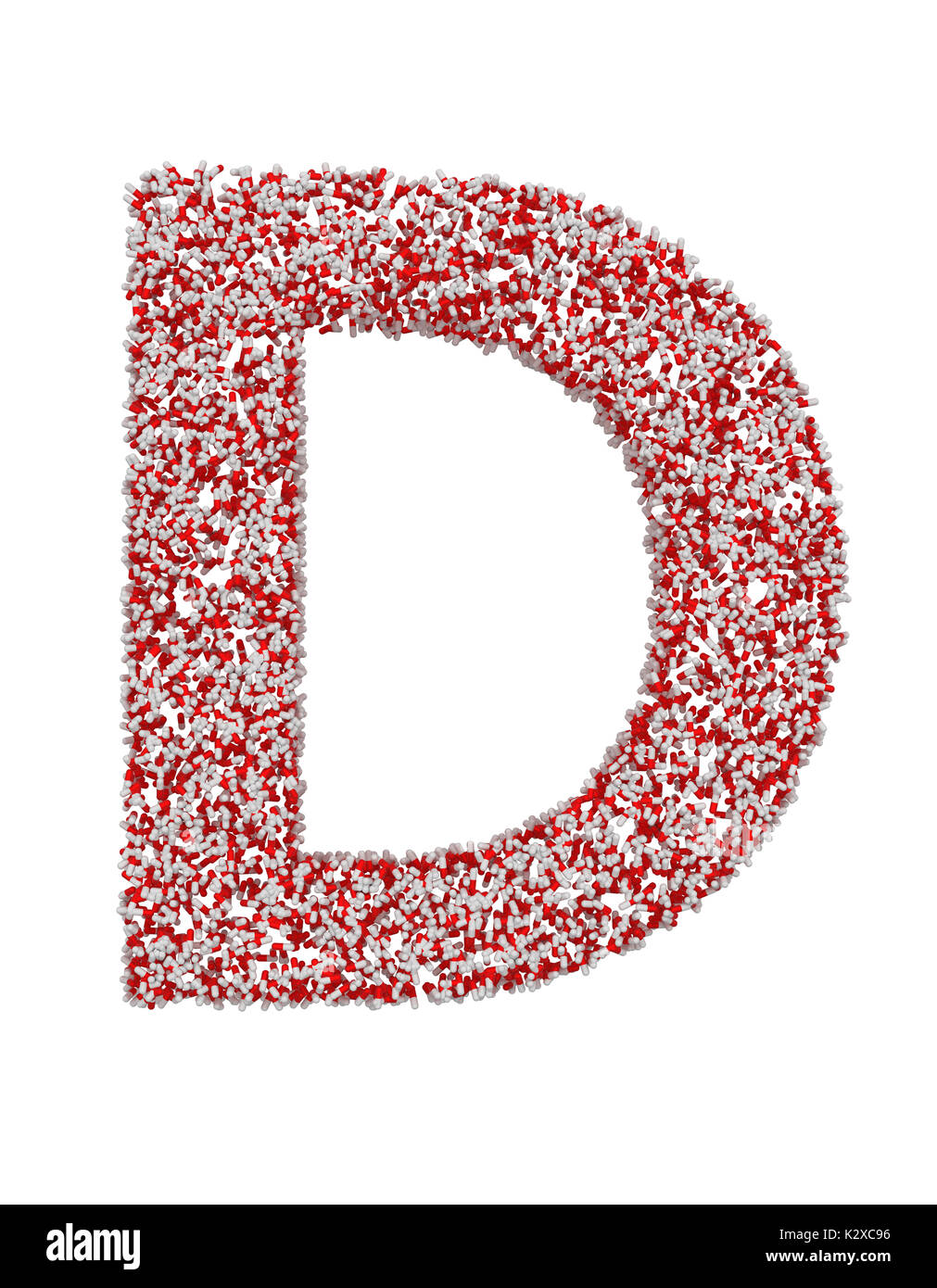3D render of red and white alphabet make from pills. Big letter D