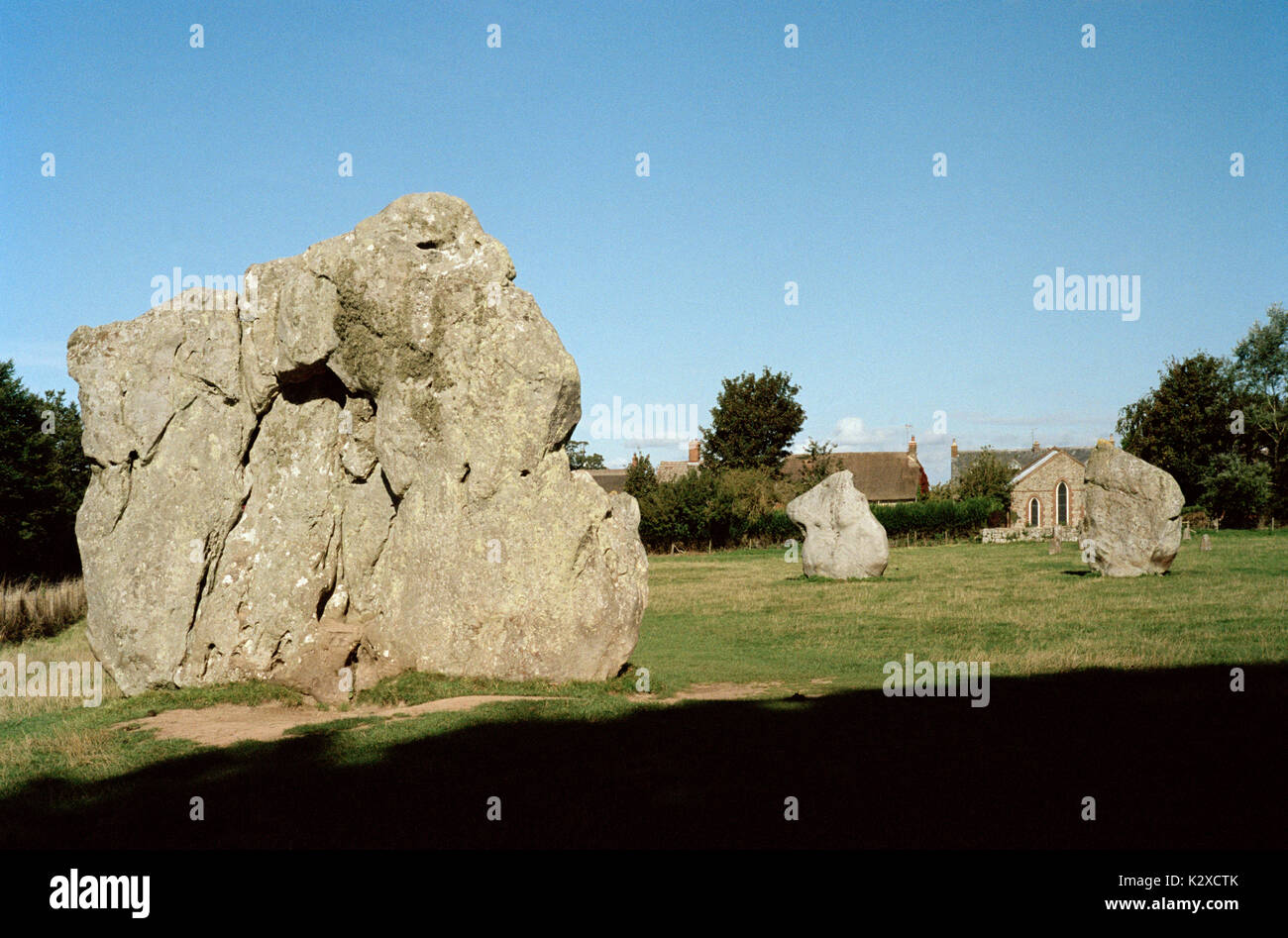 Avebury Stone Circle in Avebury in Wiltshire in England in Great Britain in the United Kingdom UK Europe. Ancient Henge Stones Prehistory Travel - Stock Image
