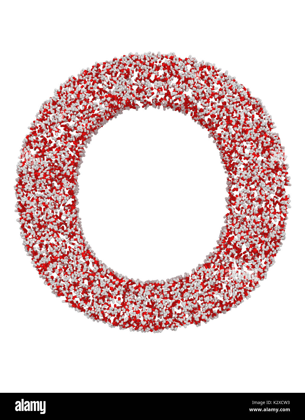 3D render of red and white alphabet make from pills. Big letter O