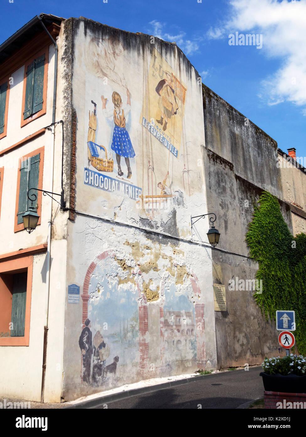 Mural in Moissac, France - Stock Image