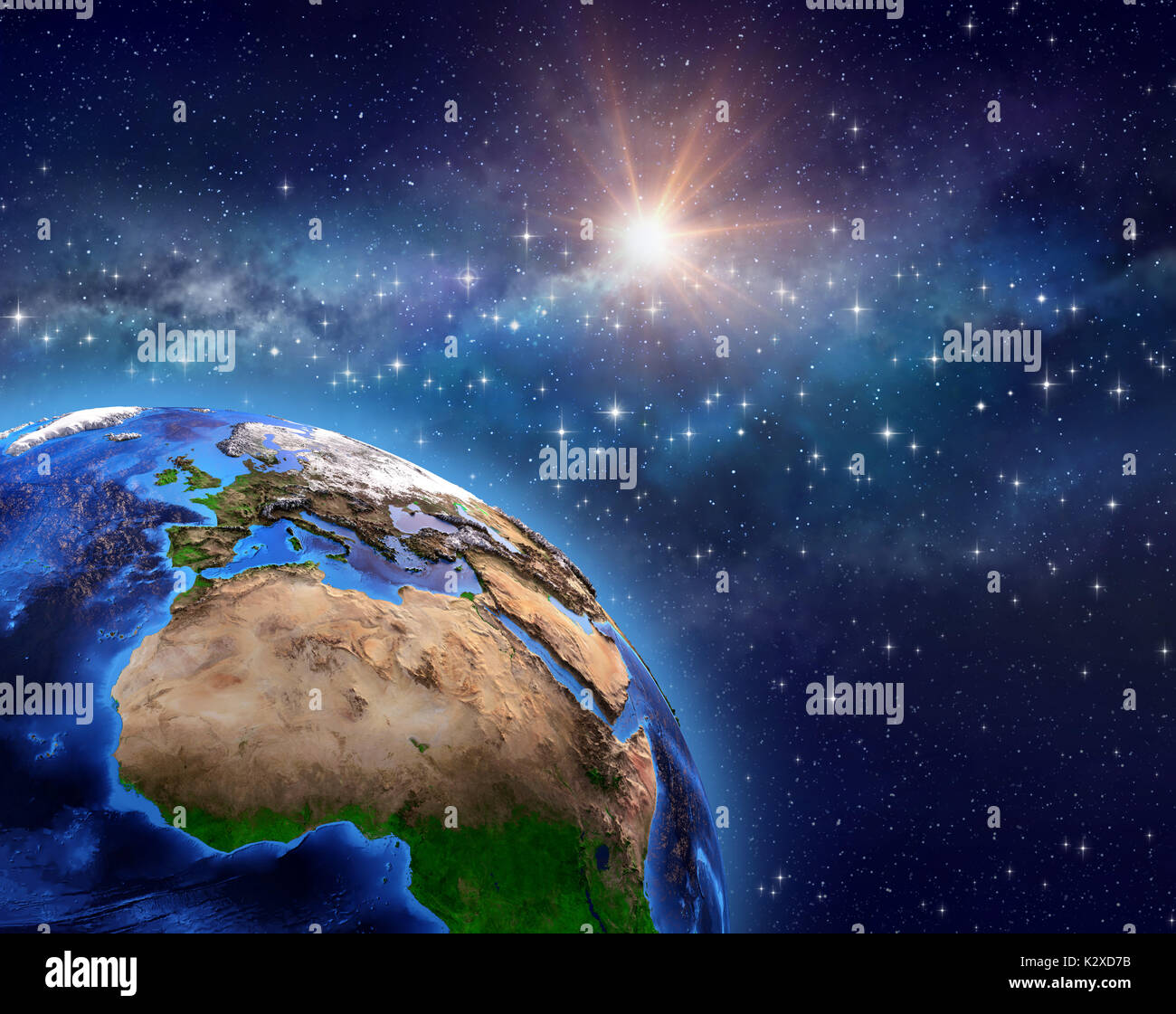 Planet Earth in deep space, star cluster, milky way and bright sun shining far behind - 3D illustration - Elements of this image furnished by NASA - Stock Image