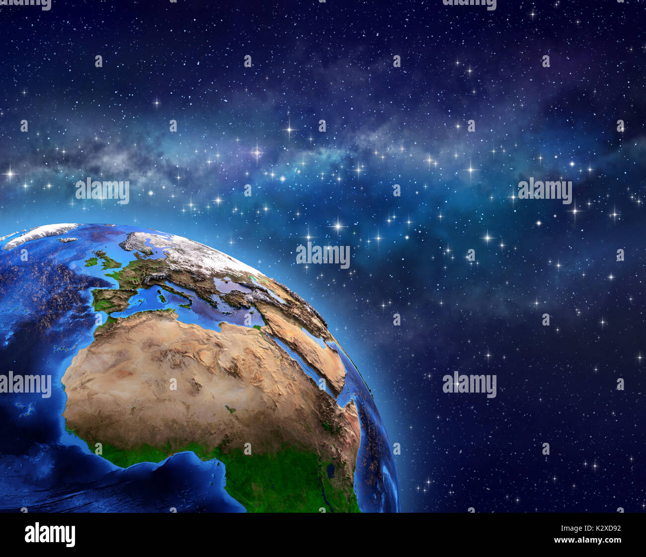 Planet Earth in deep space, star cluster and milky way far behind - 3D illustration - Elements of this image furnished by NASA - Stock Image