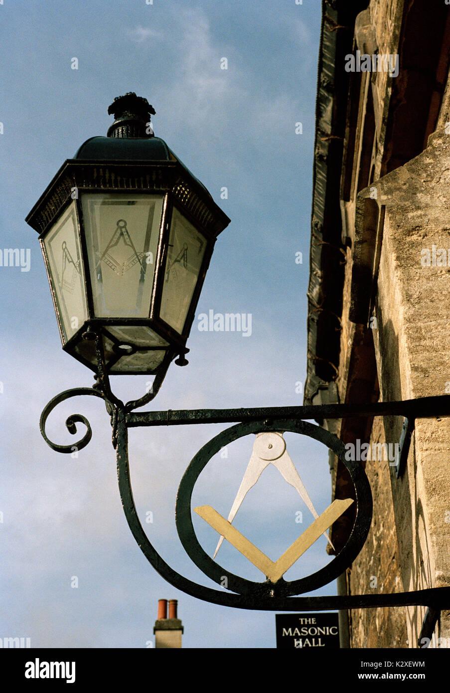 Masonic Hall symbol Bradford On Avon in Wiltshire in England in Great Britain in United Kingdom UK Europe. Freemason Freemasonry Symbolism Religion - Stock Image