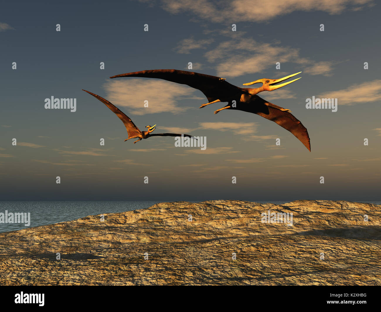 Two pteranodons Stock Photo