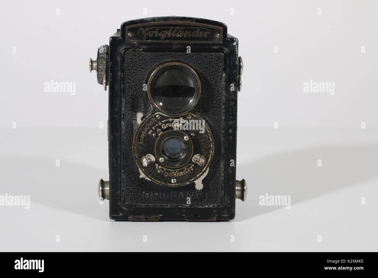 Kamera, Fotoapparat, fotografieren, historisch, Foto, Voigtlaender, Spiegelreflex, Rollfilm - Stock Image