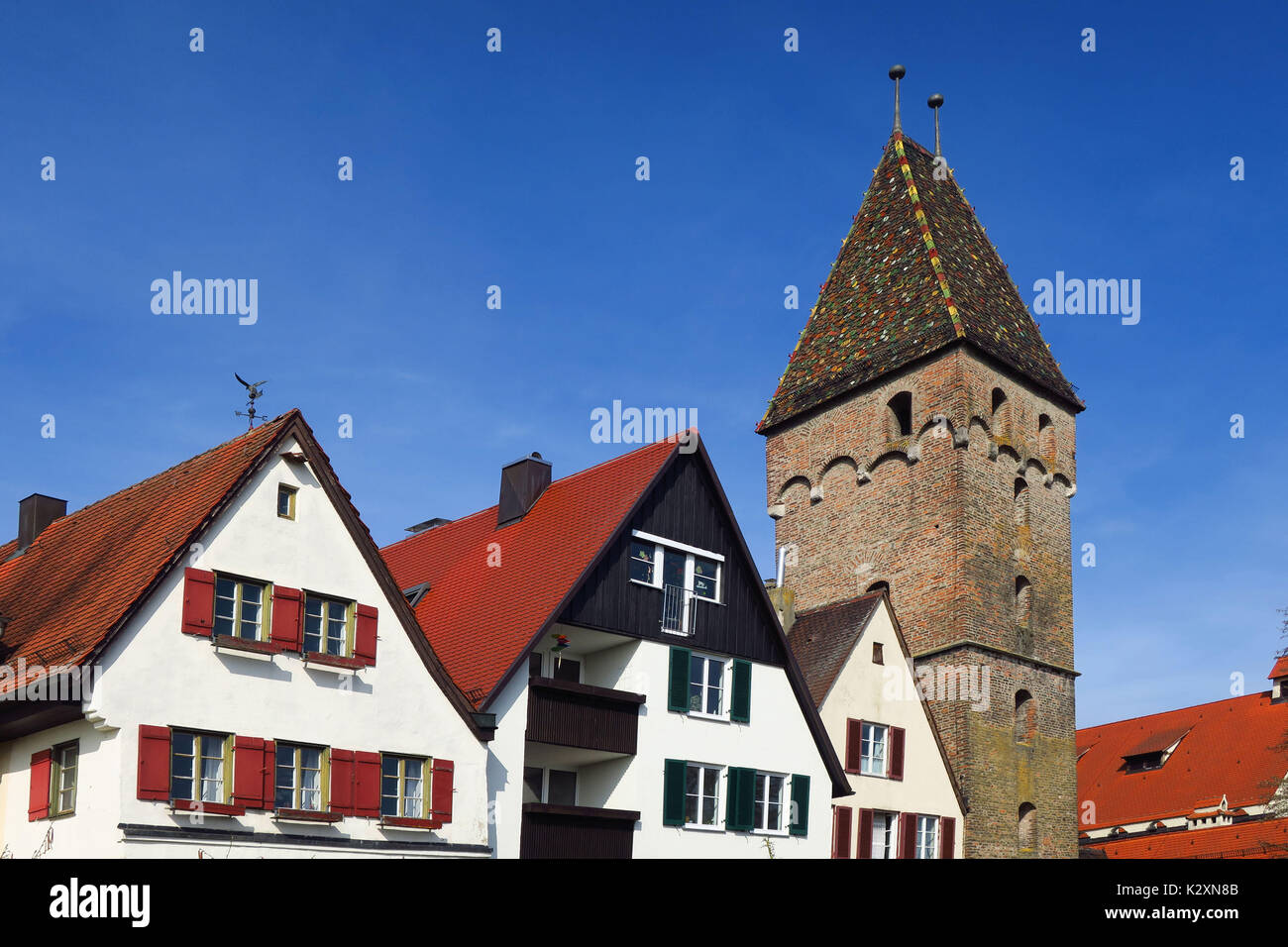 Ulm, Donau, Baden, Wuerttemberg, Bezirk Tuebingen, Metzgerturm, Stadtmauer, Wehrturm, Mittelalter - Stock Image