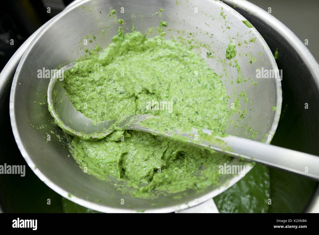 Preparation of vegetables pureed in a restaurant. - Stock Image