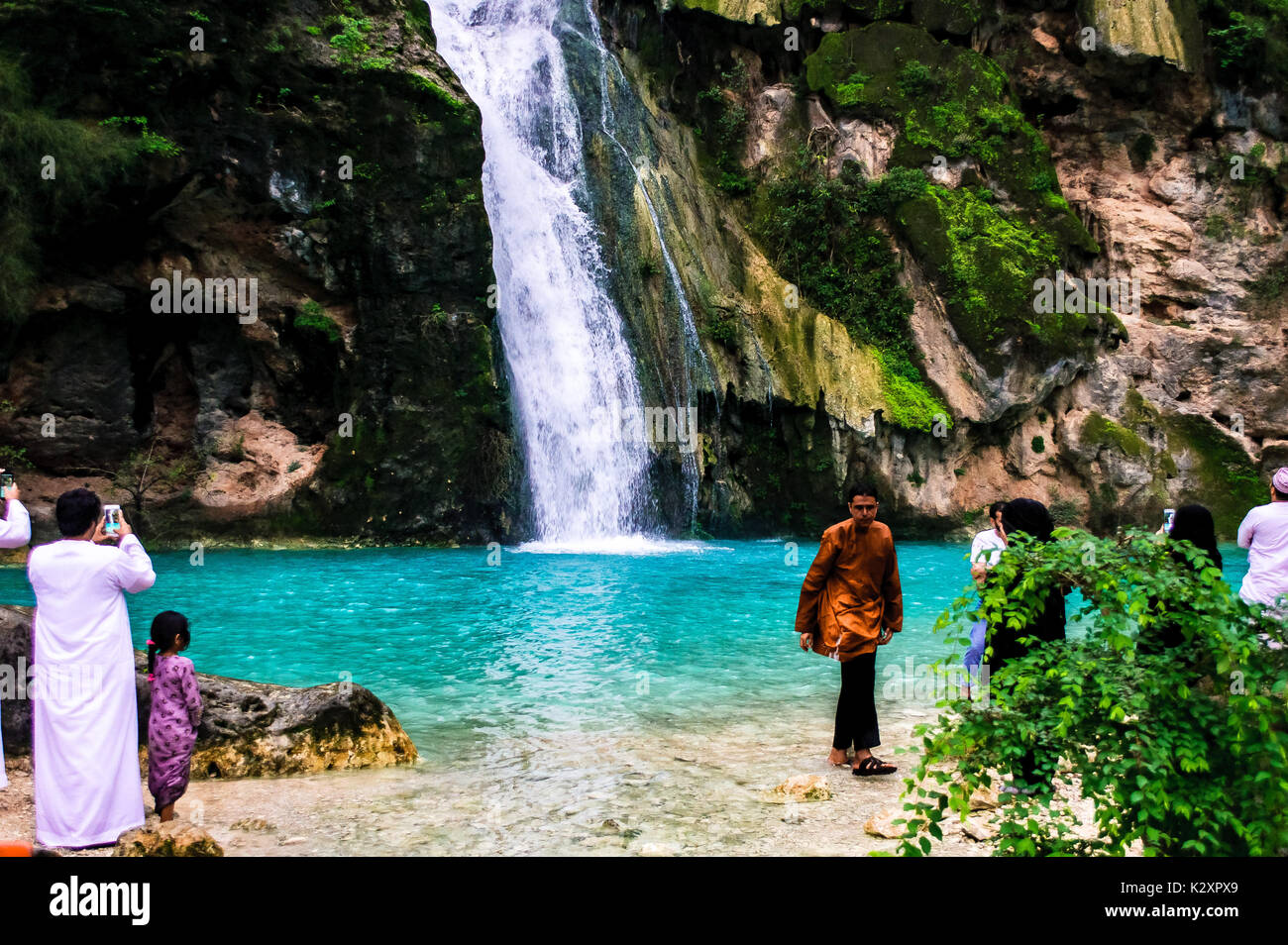 The waterfall in Ayn Athum, Oman - Stock Image