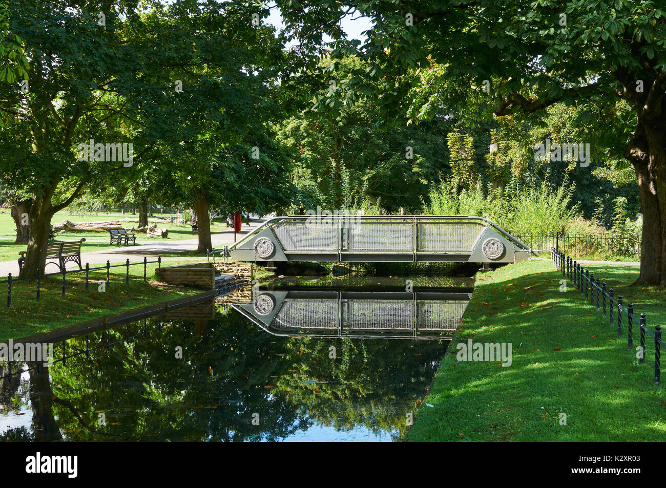 Bridge over the New River at Clissold Park, Stoke Newington, North London UK - Stock Image