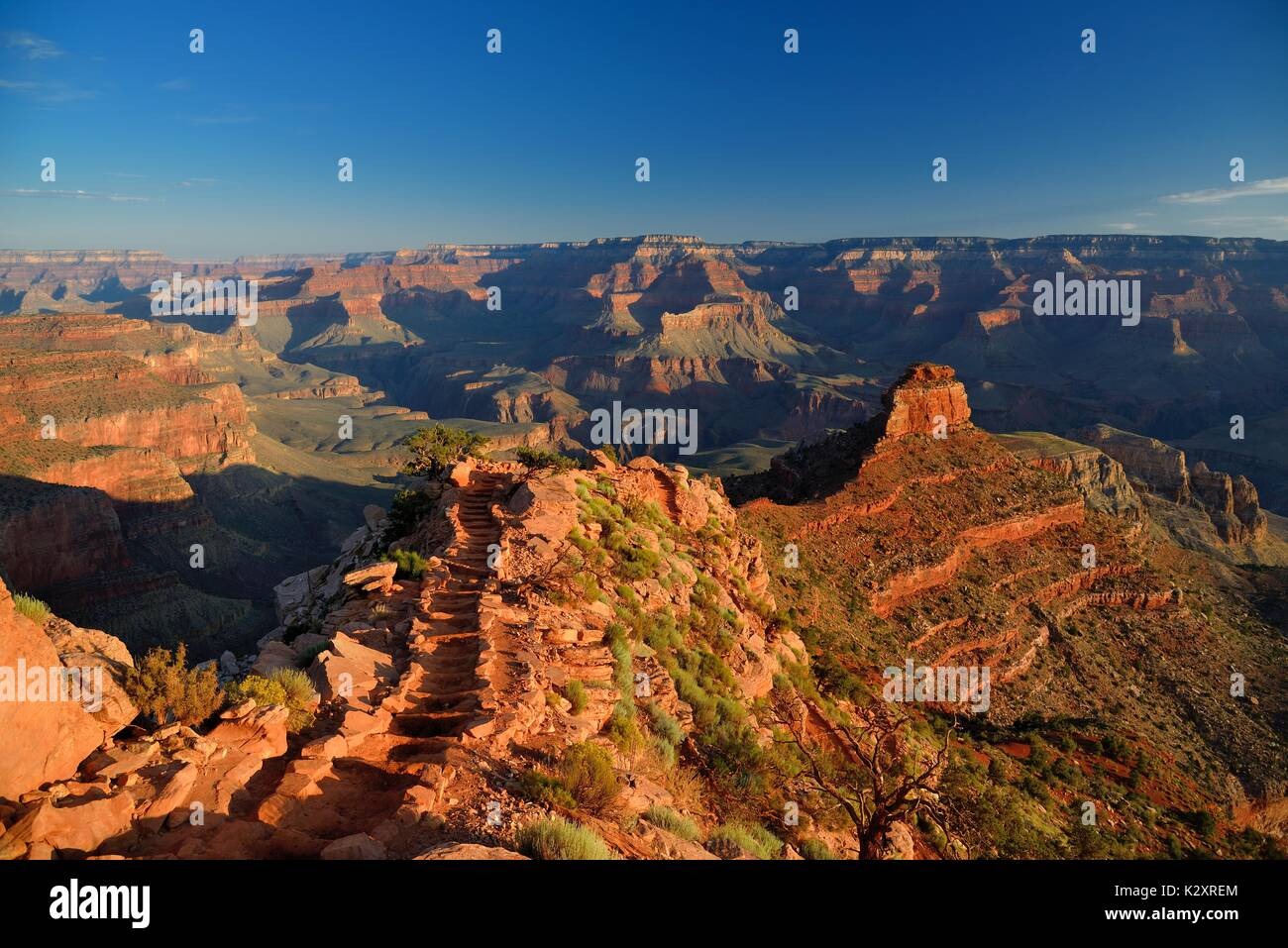 Grand Canyon South Kaibab Trail Sunrise near Cedar Ridge with ONeill Butte Fantastic Panoramic view of the canyon - Stock Image