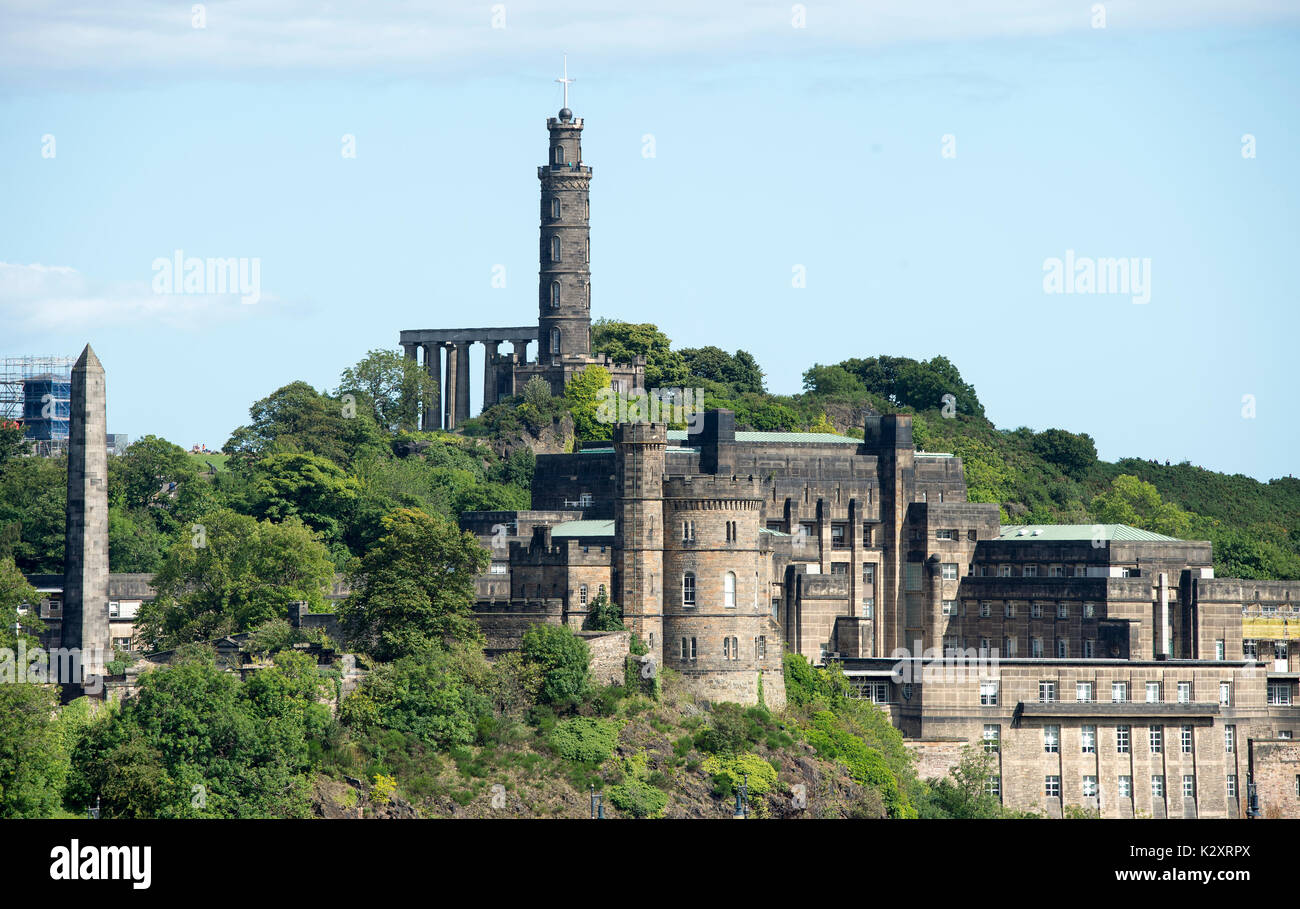 View of Calton Hill, Edinburgh showing the Political Martyrs monument (extreme left) the National monument, Nelson Stock Photo